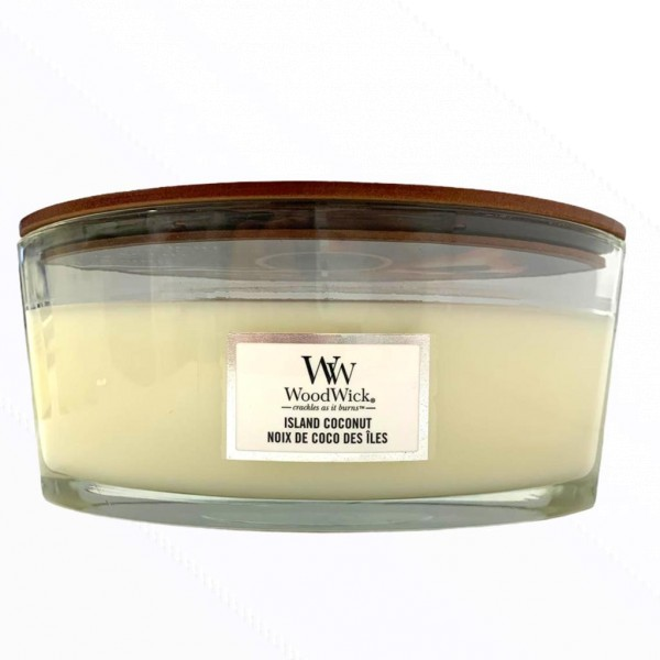 Wood Wick Candle Großes Glas Oval Island Coconut