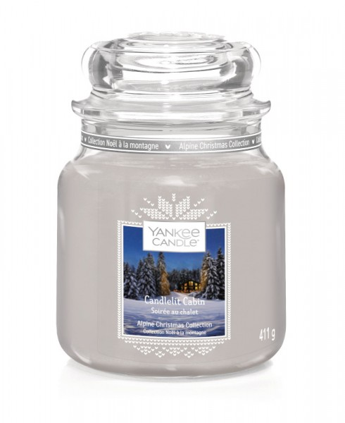 Yankee Candle Classic Mittleres Glas Candlelit Cabin